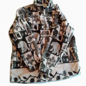 WOOLRICH Northeast Print Front Zip Fleece Jacket